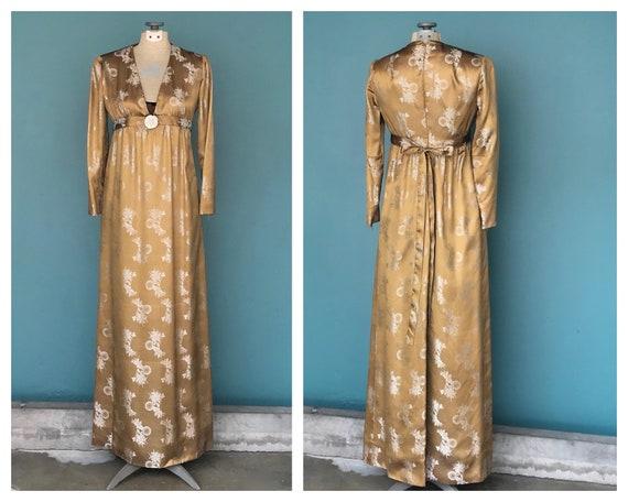 60s Empire Waist Dress Gold Satin Dress, 28 Waist,