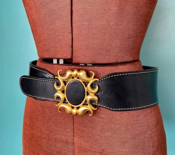 Wide Black Leather Belt 1980s Wide Belt, TaraLynE… - image 5