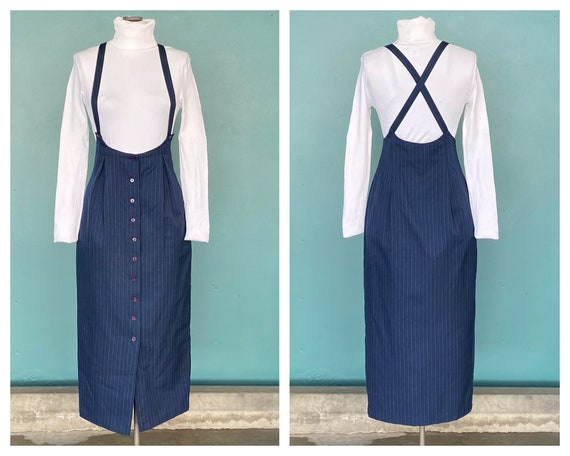 Pinafore 80s Vintage Midi Overall Dress Pinafore 8