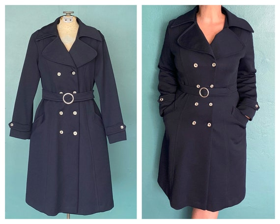 Vintage Navy 60s Mod Trench Coat Women Knee Length