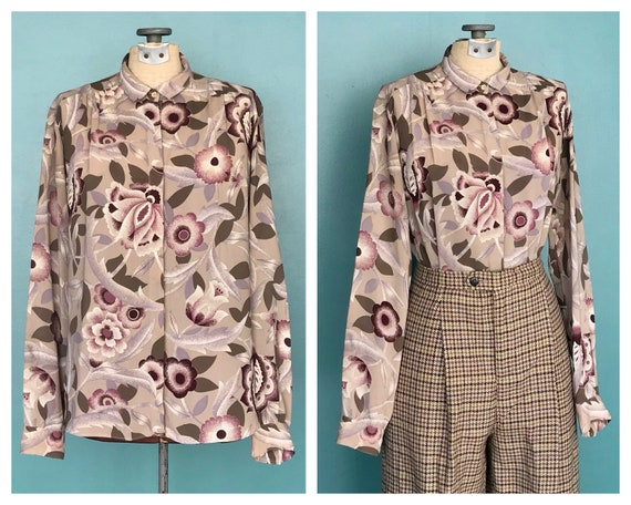 1970s Floral Blouse Secretary Button Up Blouse, Ta