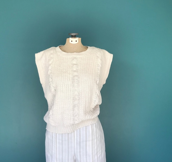 Linen Crochet Top Cable Knit Vintage Top, TaraLyn… - image 2