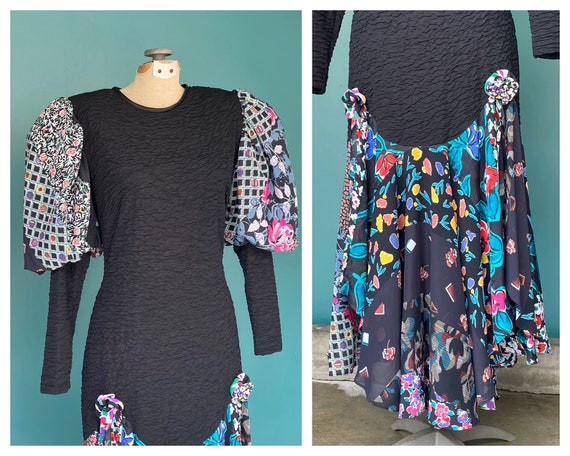Puff Sleeve Dress Balloon Sleeve 80s Dress Fitted… - image 6
