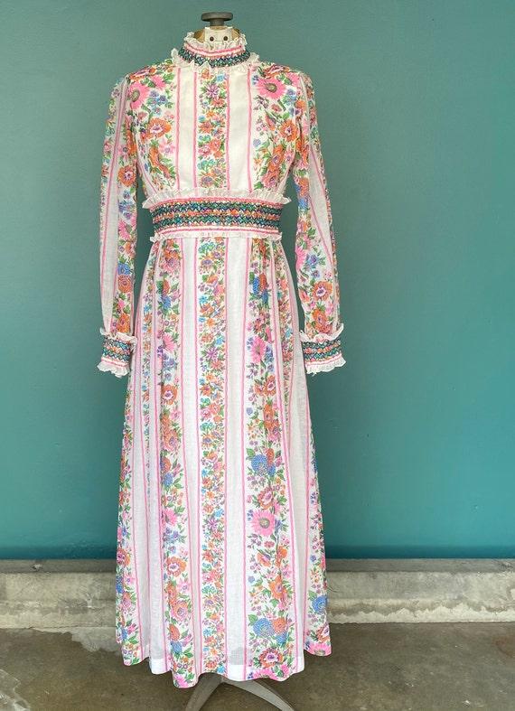 Prairie 70s Floral Cottagecore Folk Dress Vintage… - image 2
