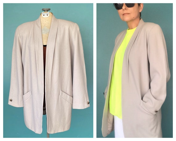 80s Vintage Wool Blazer Womens 80s Made in USA Bla