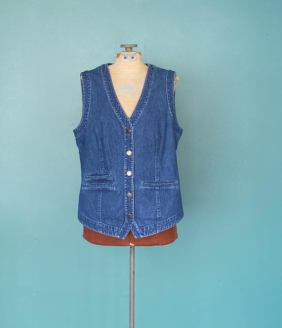 Vintage Denim Womens Jean Vest Denim Womens Vinta… - image 2