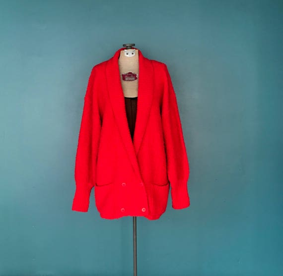 Oversized Red Cardigan 80s Vintage Cardigan, TaraL