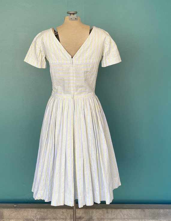 Seersucker 50s Rockabilly Spring Dress 50s Vintag… - image 7