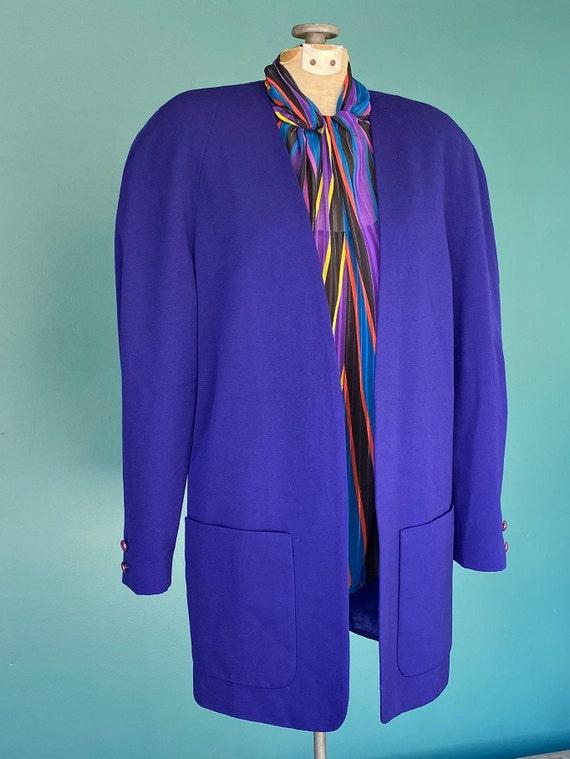 Cotton Red Purple 39 Chest Medium 80s Caroline Charles Paisley Blazer Longline Blue