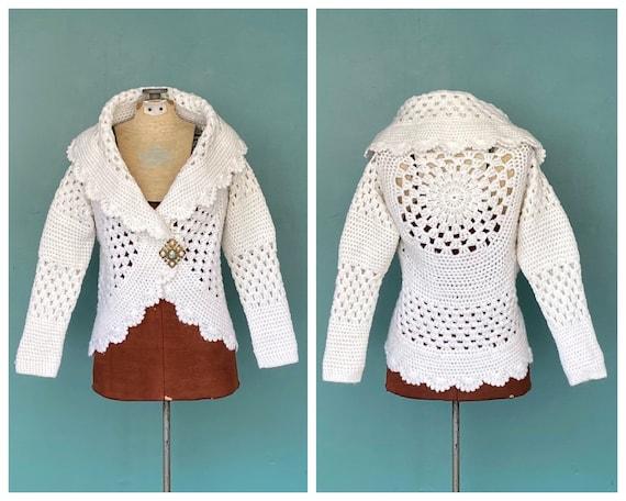 White Crochet Vintage Knit Cardigan Jacket Womens