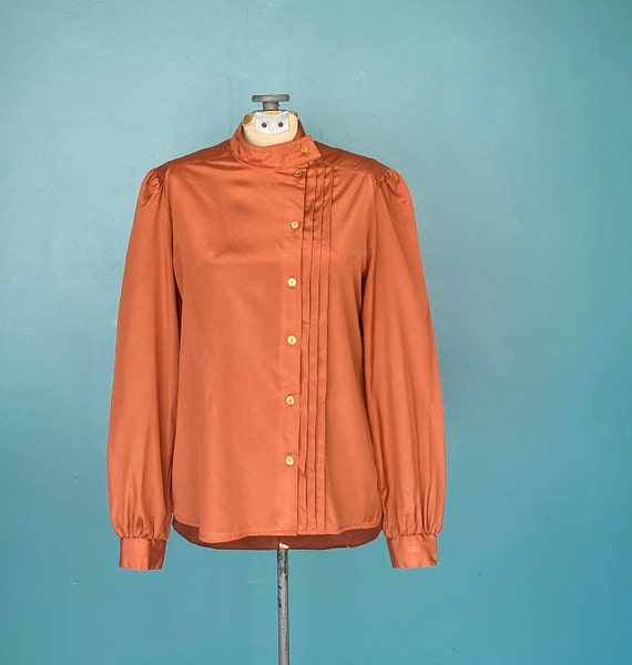 Burnt Orange 1980s Vintage Womens Blouse High Neck