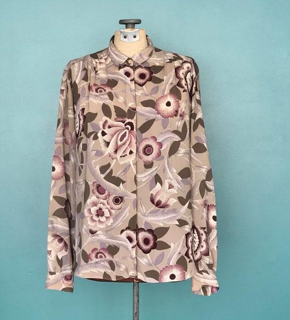 1970s Floral Blouse Secretary Button Up Blouse, T… - image 3