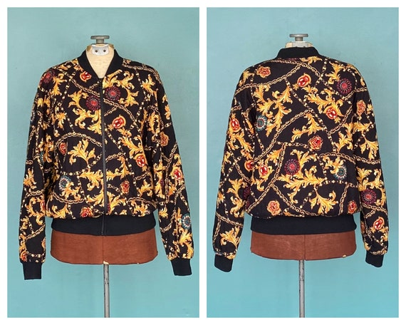 Black Baroque 80s Quilted Bomber Jacket Quilted J… - image 1
