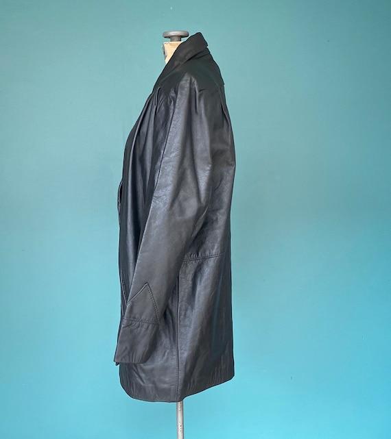 80s Black Leather Jacket Leather Blazer, TaraLynE… - image 5