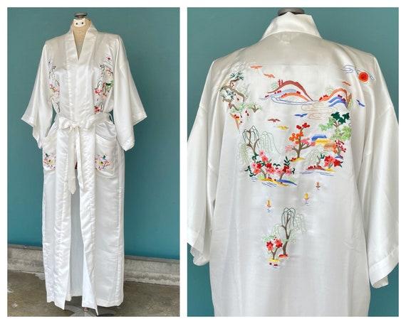 White Silk Vintage Chinese Womens Robe Long White