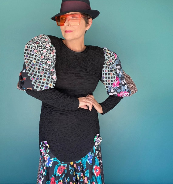 Puff Sleeve Dress Balloon Sleeve 80s Dress Fitted… - image 3