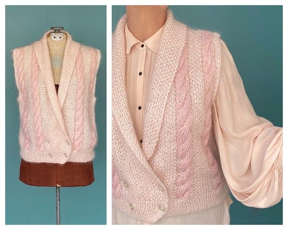 Mohair Pink Cable Knit Vintage Wool Vest 80s Knitt