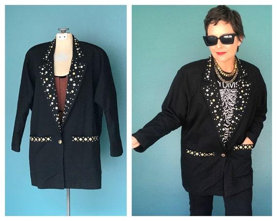 Black 80s Blazer Womens Longline Blazer, TaraLynEv