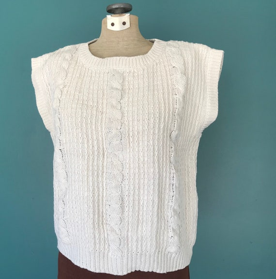 Linen Crochet Top Cable Knit Vintage Top, TaraLyn… - image 4