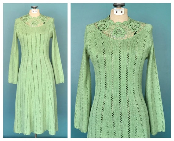 Crochet 70s Dress Sage Crochet Maxi Dress, TaraLyn
