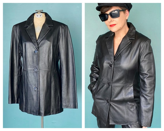 90s Black Leather Vintage Women Jacket 90s Vintage
