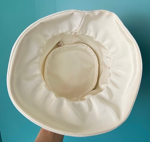White Vintage 60s Womens Bucket Hat Women Wide Br… - image 9