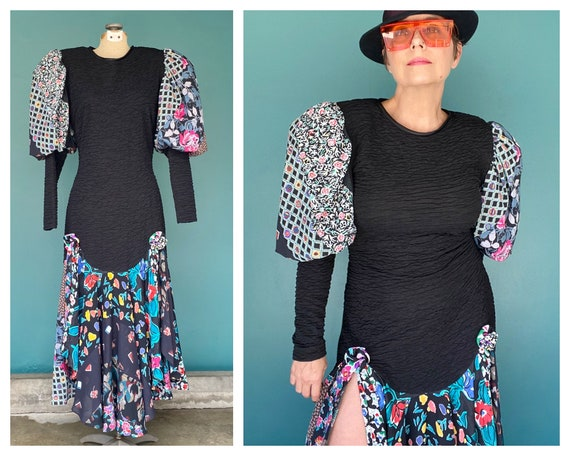 Puff Sleeve Dress Balloon Sleeve 80s Dress Fitted… - image 1
