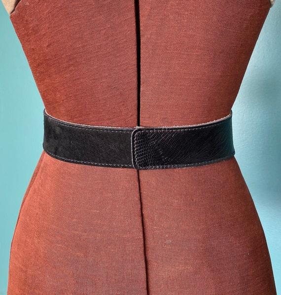 Wide Black Leather Vintage Womens Belt 80s Leathe… - image 6