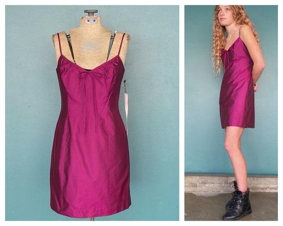 Pink Slip Mini Dress 90s Silk Slip Dress, NWT, Tar