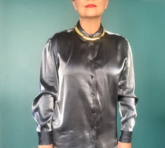 Y2K Silver Metallic Long Sleeve Blouse Y2K Silver
