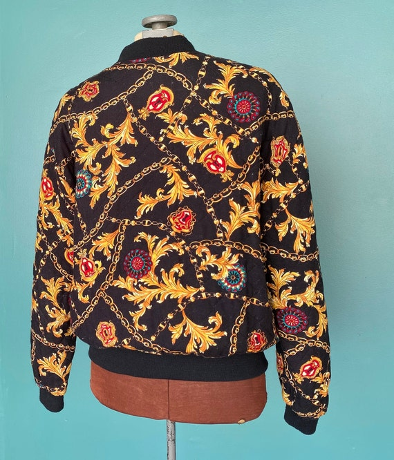 Black Baroque 80s Quilted Bomber Jacket Quilted J… - image 6