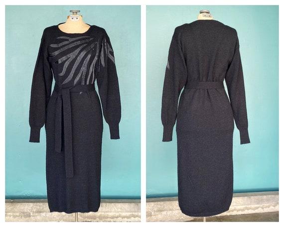80s Black Vintage Womens Sweater Dress 80s Long Wi