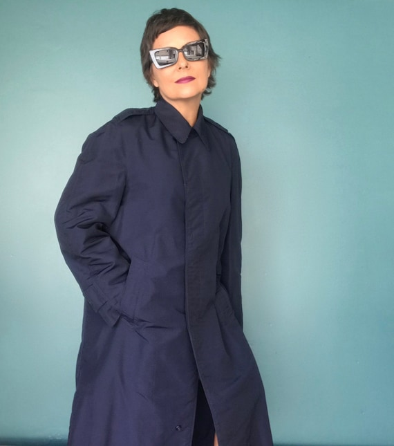 Vintage Trench Coat Navy Military Trench Coat Nau… - image 3