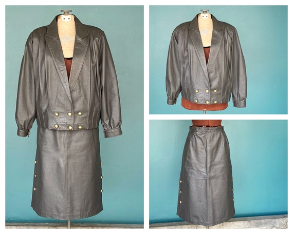 Leather Skirt Suit Womens Leather Skirt Jacket Mid