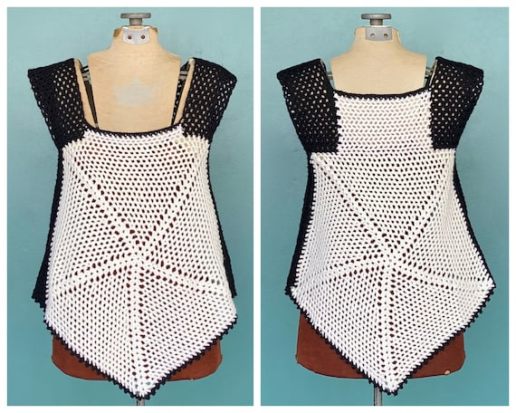Crochet Black and White 70s Womens Tank Top Croche