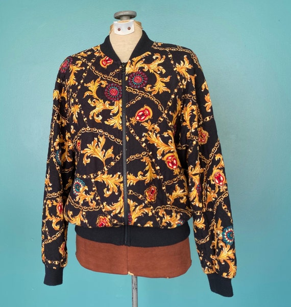 Black Baroque 80s Quilted Bomber Jacket Quilted J… - image 3