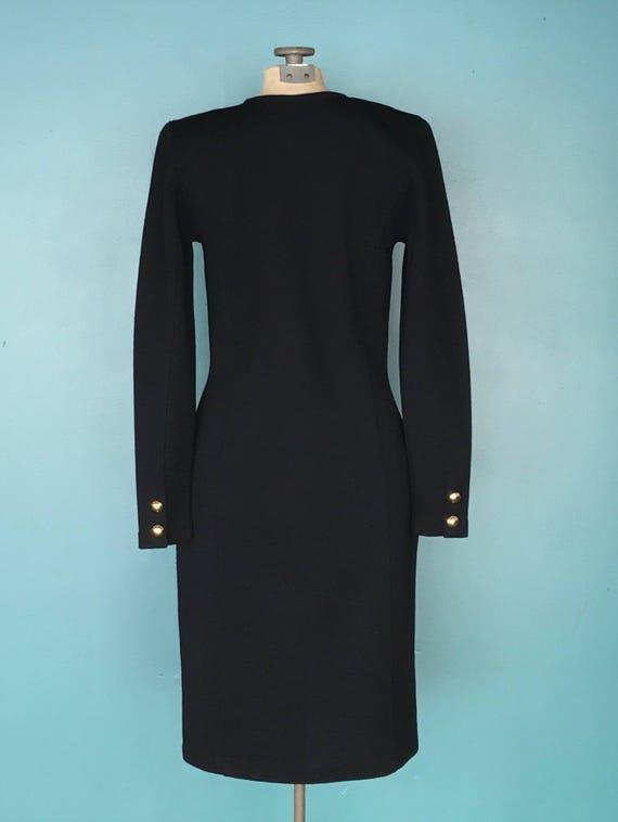Black Wool 80s Sweater Shirt Dress 1980s Vintage … - image 6
