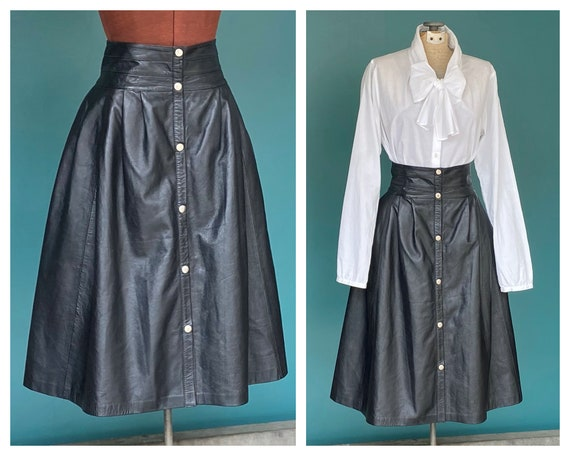 Leather Maxi Skirt Black Leather Full Skirt, TaraL