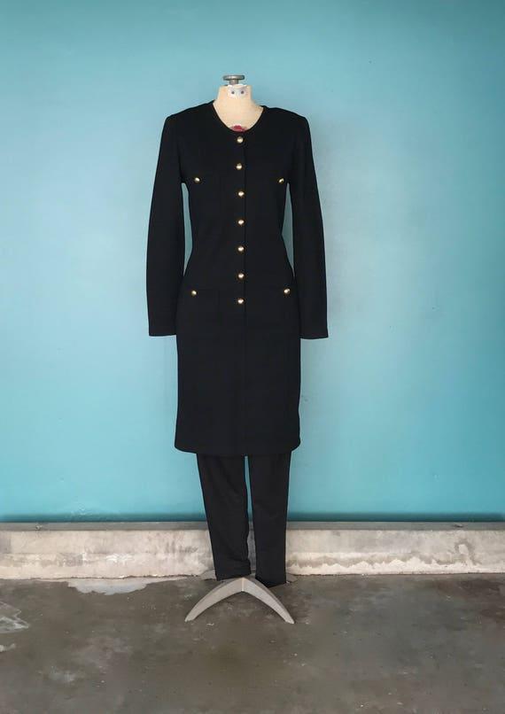 Black Sweater Dress 80s Wool Shirt Dress, TaraLynE