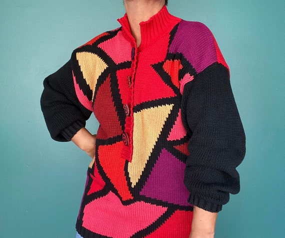 Color Block Oversized Sweater 80s Sweater, TaraLyn