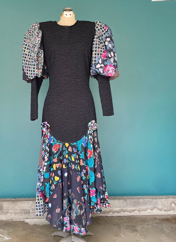 Puff Sleeve Dress Balloon Sleeve 80s Dress Fitted… - image 4