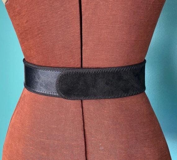 Wide Leather Black Vintage Waist Belt 80s High Wa… - image 7