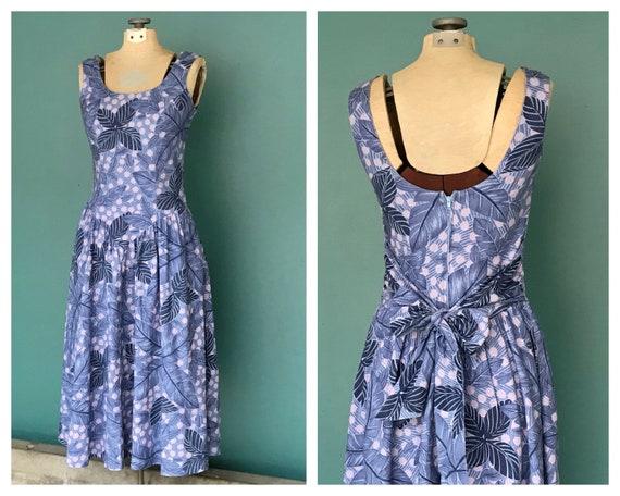 Vintage 80s Tropical Floral Sun Dress Sleeveless B