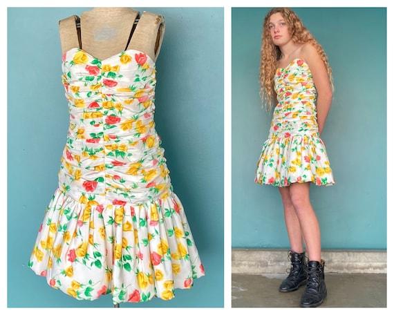 80s Vintage Floral Cocktail Ruched Dress 80s Vinta