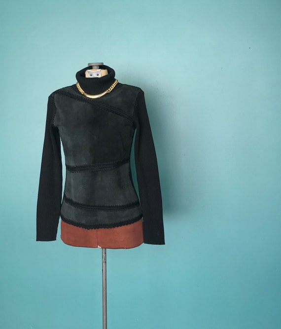 Leather Patchwork Sweater 90s Turtleneck Sweater,