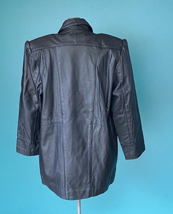 80s Black Leather Jacket Leather Blazer, TaraLynE… - image 6