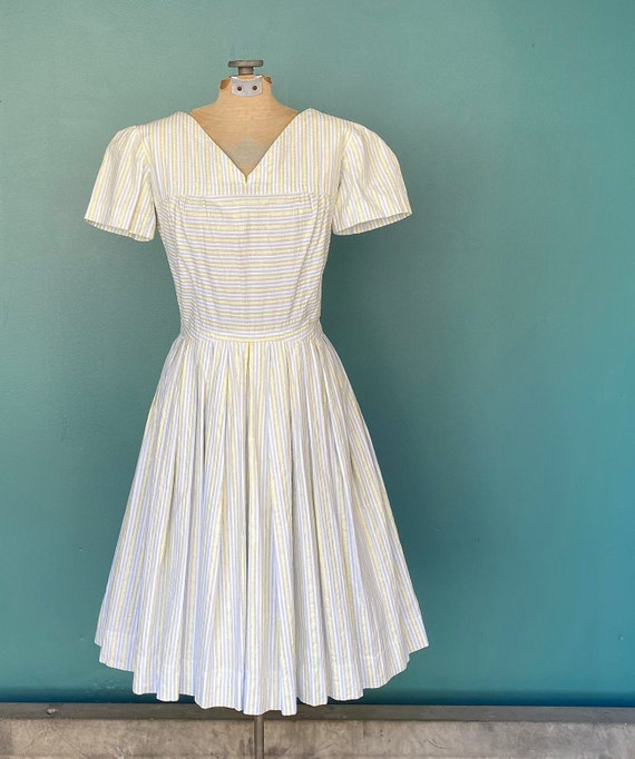 Seersucker 50s Rockabilly Spring Dress 50s Vintag… - image 2