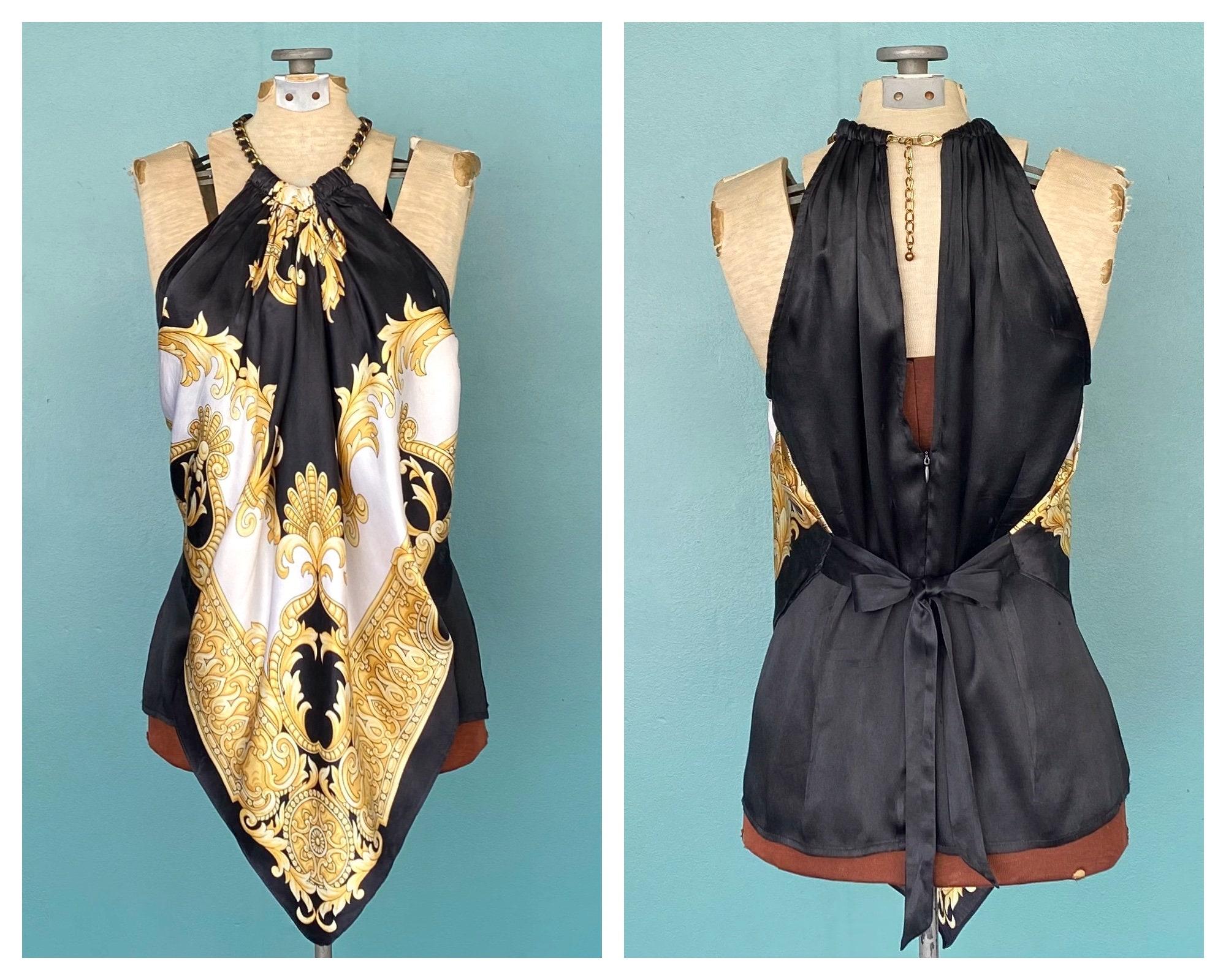 Vintage Scarf Styles -1920s to 1960s Baroque Silk Y2K Halter Tank Scarf Top Vintage Black Sleeveless Womens Asymmetric Taralynevansstudio $0.00 AT vintagedancer.com