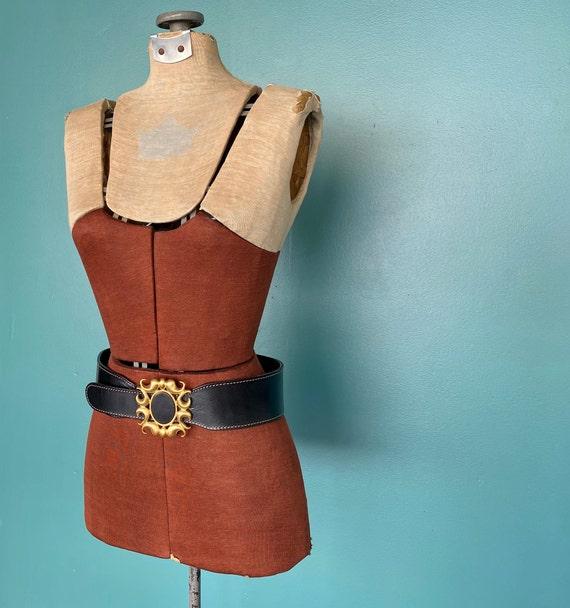 Wide Black Leather Belt 1980s Wide Belt, TaraLynE… - image 3