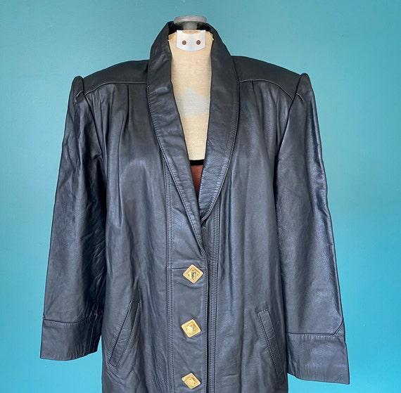 80s Black Leather Jacket Leather Blazer, TaraLynE… - image 3